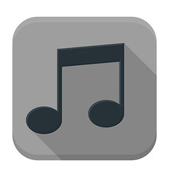 Music black note flat app icon with long shadow vector