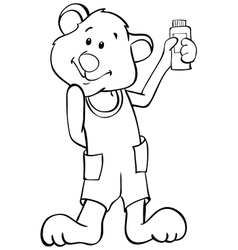 Outline funny bear vector image