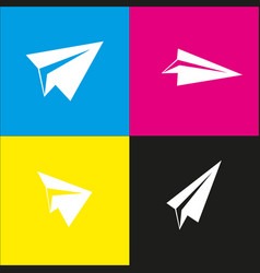 Paper airplane sign white icon with vector