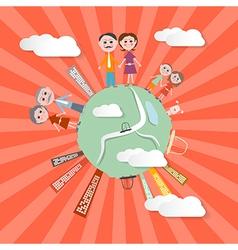 People on globe - retro vector
