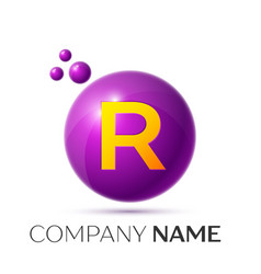 R letter splash purple dots and circle bubble vector