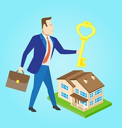 Real estate agent with a key and house model for vector image vector image