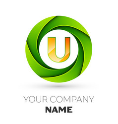 Realistic letter u logo in the colorful circle vector