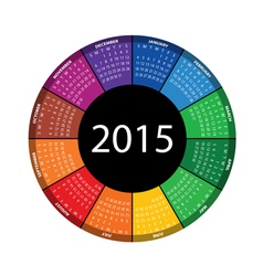 round calendar for 2015 year vector image vector image