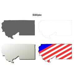 Siskiyou county california outline map set vector