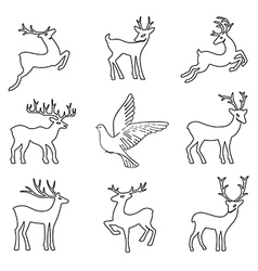 Soaring dove deers vector