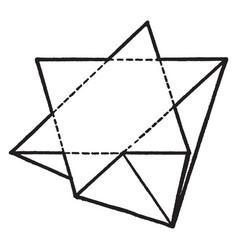Tetrahedrite penetration twin vintage vector