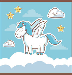 Unicorn fantasy card dream cloud star kawaii vector