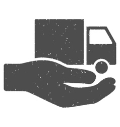 Van delivery service hand icon rubber stamp vector