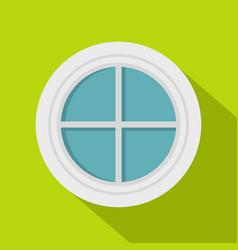 White round window icon flat style vector