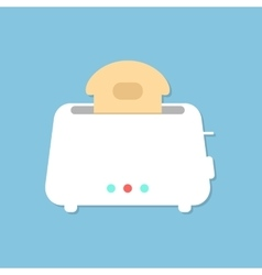 white toaster with shadow isolated on blue vector image vector image