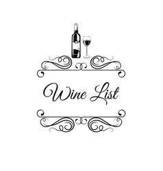 wine list with wine bottle glass swirls vector image