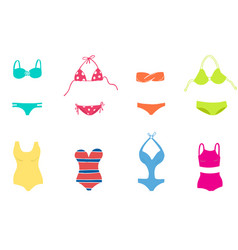 Women colorful swimsuit design set fashion bikini vector