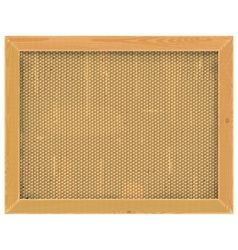 Wooden frame with sackcloth vector