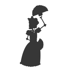 skeleton woman dancing icon silhouette vector image