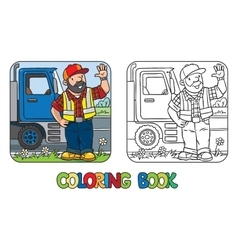 Coloring book of funny driver or worker vector