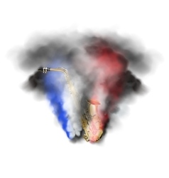 Saxophone in smoke vector