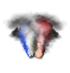 saxophone in smoke vector image