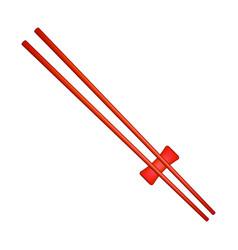 Wooden chopsticks in red design vector