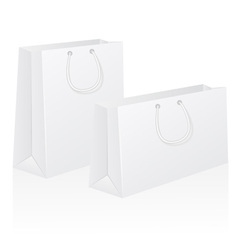 Set of white blank paper shoping bag vector