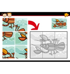 Cartoon crayfish jigsaw puzzle game vector