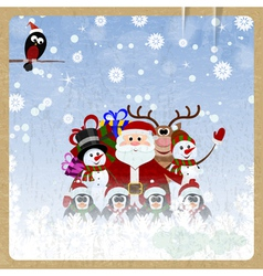 Greeting christmas card with santa claus vector