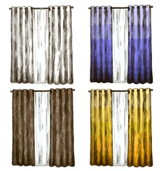 Set of curtains drawings sketch style vector