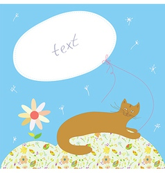 Birthday card with cat and frame vector image