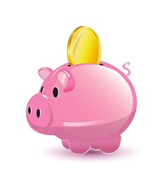 Pig pocket money coin cartoon vector