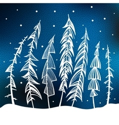 Christmas trees in snow forest vector