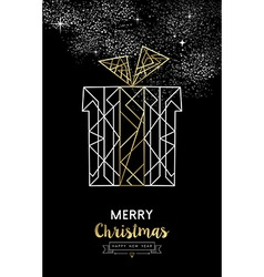 Merry christmas new year gift outline gold deco vector image
