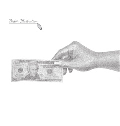Hand with a banknote in black and white graphic vector