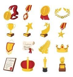 Trophy and awards cartoon icons set vector