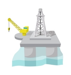 Oil derrick in sea cartoon vector