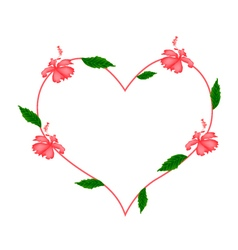 Red hibiscus flowers in a heart shape vector