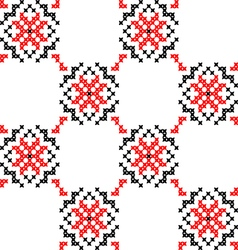Seamless texture with red black abstract flowers vector