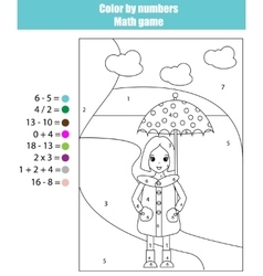 Coloring page with girl color by numbers math vector
