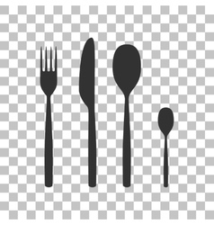Fork spoon and knife sign dark gray icon on vector