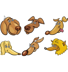 Cartoon funny dogs heads set vector