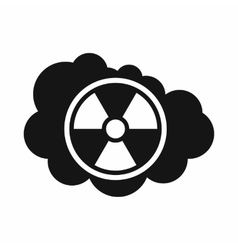 Cloud and radioactive sign icon simple style vector