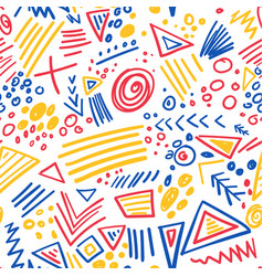 Abstract marker colorful lines seamless pattern vector