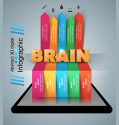 Brain smartphone infographic and business icon vector
