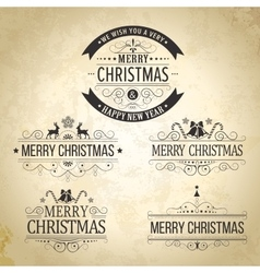 Christmas decoration set of calligraphic vintage vector