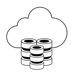 Cloud storage with databases icon image vector