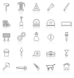 Construction line icons with reflect on white vector