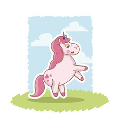 Cute pink unicorn baby character grass sky vector