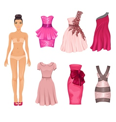 Dress-up doll with pink dresses vector