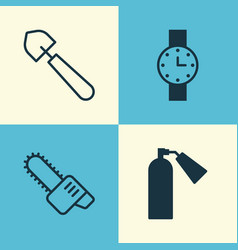Equipment icons set collection of scoop timer vector