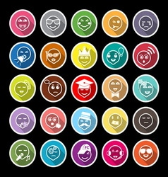 Face action line flat icons with long shadow vector