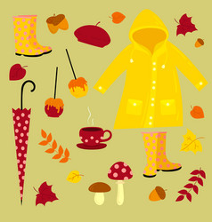 Fall warm autumn set vector